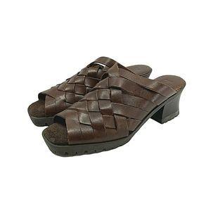 """MIA Leather Lug Heel Platform Sandals 2 1/4"""" Heel"""